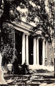 Lyons Kansas~Methodist Church-Grand Entrance~Greek Ionic Columns~1943 RPPC