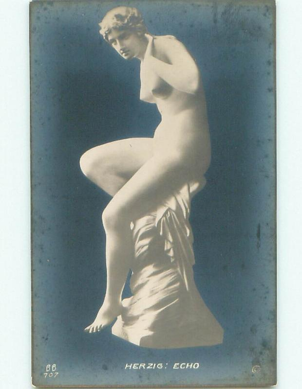 old rppc RISQUE SCULPTURE ON POSTCARD - THE FLAME i2790