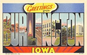 Burlington Iowa~Large Letter Linen Postcard~Excursion Steamer~Fountain~1940