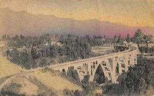 Handcolored Arroyo Seco Bridge Pasadena Calif RPPC postcard c1936 am72