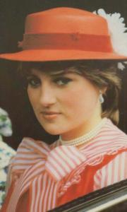 Princess Diana Red Summer Party Hat Dress Bow Tie Royal Postcard