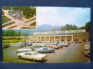 Postcard TN Caryville Colonial House Restaurant Gift Shop Esso Gas Station