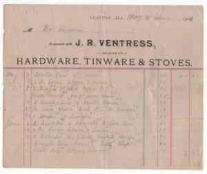 1901 Billhead,  J. R. VENTRESS, Hardware, Tinware, Stoves, Clayton, Alabama