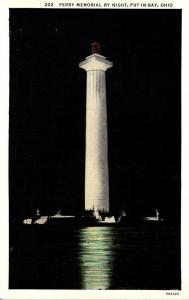 Ohio Put-In-Bay Perry Memorial By Night 1945 Curteich