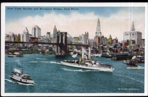 New York City Skyline and Brooklyn Bridge East River Boats Ship - White Border