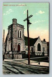New Castle PA-Pennsylvania Trinity Church, Vintage Postcard