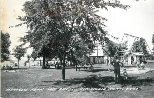 LITCHFIELD MINNESOTA 1940s Memorial Park Lake Ripley RPPC Cook postcard 4329