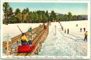 Vintage Cranmore Mountain, New Hampshire Postcard Skimobile Skiers 1939 Unused