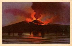 Italy -  Naples. Mt Vesuvio at Night.  Artist: Fusca?