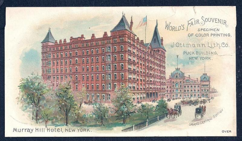 VICTORIAN TRADE CARD Murray Hill Hotel 1893 World's Fair
