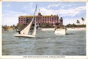 Nassau Bahamas boats in front of Fort Montagu Beach Hotel antique pc Y14196