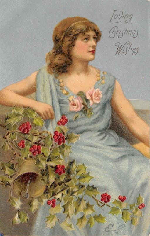 Christmas~Lovely Lady~Teal Gown~Pink Roses~Holly Berry~Silver Back~Emboss~1908