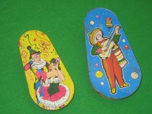 2 Vintage Litho Noisemakers Tin Kirchhof U.S. Metal Toy MFG Co