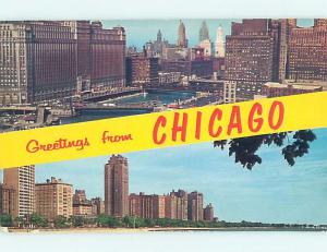 Pre-1980 TWO VIEWS ON CARD Chicago Illinois IL ho7712