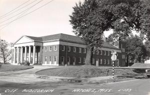 Natchez Mississippi~City Auditorium~Striped Stop Sign Pole~1940s Car~RPPC