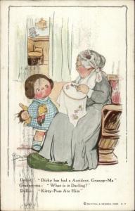 Cute Kid & Grandma Dolly Exchange - Grace Drayton c1910 Postcard
