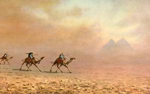Africa - Egypt, Sandstorm near Pyramids    *Artist Signed: Marchettini