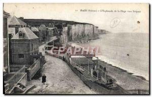 Old Postcard The Ault & # 39Esplanade the Beach Towards Treport