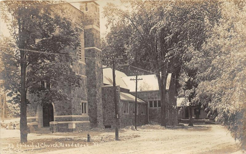 Woodstock Vermont~Episcopal Church~Fire Hydrant by Unpaved Street~c1910 RPPC