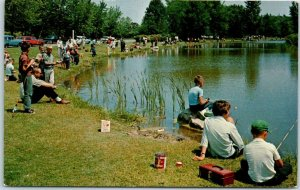 Green Bay, Wisconsin Postcard Fishing in the Lagoons at Bay Beach Chrome 1950s