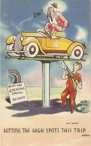 Hitting the hight spots tis trip Humorous American linen postcard
