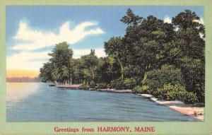 Harmony Maine Scenic Shore View Greeting Antique Postcard K89734