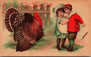 Thanksgiving With Turkey and Young Children 1910