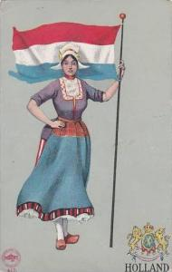 Netherlands Holland Woman In Native Costume With Flag