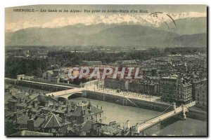 CARTE Postal Grenoble Old Quays and the Alps View from Sainte Marie d'en Haut