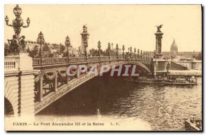 Postcard Old Paris Pont Alexandre III and the Seine Boat Peniche