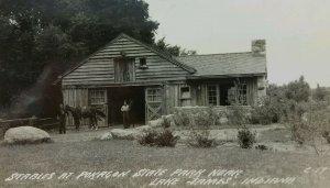 Stables Pokagon State Park Lake Janes Angola Indiana postmark 1945 horses