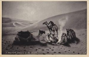 Arab men & camels under moonlight in desert , 00-10s