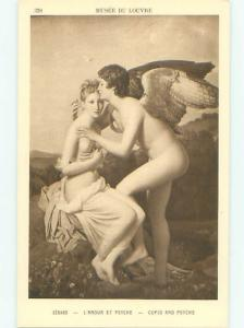 c1910 Risque ANGEL WITH TOPLESS WOMAN AT LOUVRE IN PARIS FRANCE AB7284