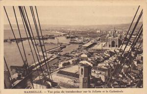 France Marseilles Vue prise de transbordeur sur la Joliette et la Cthadrale