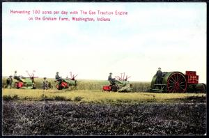 Harvesting 100 Acres Per Day ,The Gas Traction Engine,Tractor