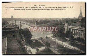 Old Postcard Paris Panorama Taken To The Alexander Bridge Les Invalides and t...
