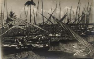 brazil, SALVADOR BAHIA, Harbour with Fishing Boats (1920s) RPPC