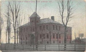 F53/ Waterloo Indiana Postcard 1909 Public High School  1