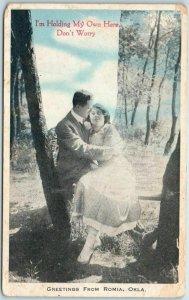 Vintage ROMIA, Oklahoma Postcard Romance I'm Holding my Own Here c1910s UNUSED