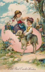 Easter Greetings - Girl in Egg placing flowers on Boy riding Lamb - PBF - DB