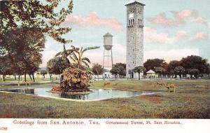SAN ANTONIO TX~GREETINGS~GOVERNMENT TOWER FT HOUSTON~JOSKE BROS POSTCARD 1910s