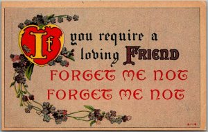 Vintage 1916 Romance Postcard If You Require a Loving Friend FORGET ME NOT