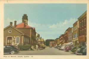Place du Marche Joliette Quebec Canada With Lots of Old Cars Vintage Postcard