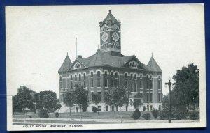 Anthony Kansas ks Court House old postcard