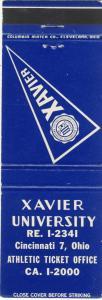 Vintage Cincinnati, Ohio/OH Matchcover, Xavier University