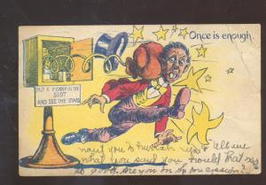 BLACK AMERICANA ONCE IS ENOUGH BOXING MACHINE VINTAGE COMIC POSTCARD