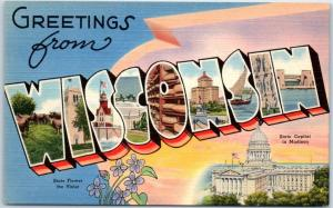 WISCONSIN Large Letter Postcard State Capitol & Flower Tichnor Linen c1950s