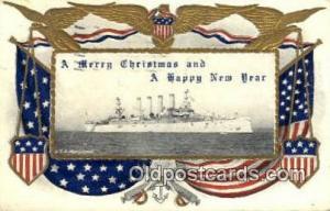 USS Maryland Military Battleship 1907 light wear, postal marking on front, po...