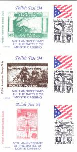 Polish Fest '94 Three Cards - GOvt. in Exile Stamps