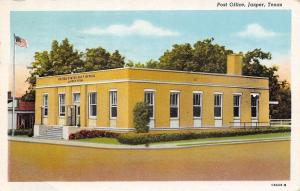 Jasper Texas~Post Office~Flag Pole~Postcard 1940s Linen